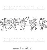 Clipart of Cherub Chefs Marching with Kitchen Supplies - Black and White Drawing by Al