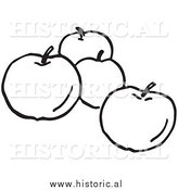 Clipart of Four Apples - Black and White Line Art by Al