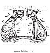 Clipart of Happy Cats Falling in Love - Black and White Retro Drawing by Al