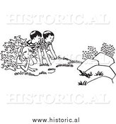 Clipart of Kids Watching a Chipmunk Run Outside - Black and White Outline by Al