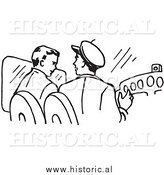 Clipart of Pilots Talking and Operating an Airplane - Black and White Line Drawing by Al