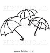 Clipart of Three Opened Umbrellas - Black and White Outline by Al