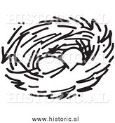 Clipart of Two Eggs in a Bird Nest - Black and White Drawing by Al