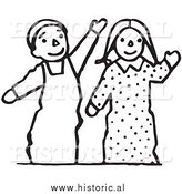 Clipart of Waving Boy and Girl Puppets - Black and White Line Drawing by Al