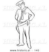 Historical Cartoon Illustration of a Police Man Looking Stern - Outlined Version by Al