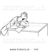 Historical Cartoon Illustration of a Stressed Man Taking a Test - Outlined Version by Al