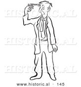 Historical Cartoon Illustration of a Suicidal Man Pointing a Gun to His Head - Outlined Version by Al