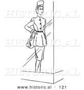 Historical Cartoon Vector Illustration of a Mannequin Wearing a Dress Featured Behind a Window - Black and White Outlined Version by Al