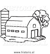 Historical Clipart of a Barn Beside Silo and Tree - Black and White Outline by Al