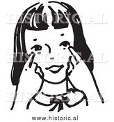 Historical Clipart of a Girl Pointing Towards Her Eyes - Black and White Outline by Al