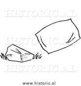 Historical Clipart of a Hard Rock Beside Soft Pillow - Black and White Outline by Al