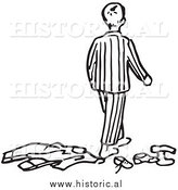 Historical Clipart of a Messy Boy Wearing Pajamas - Outline by Al