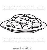 Historical Clipart of a Plate Full of Cookies - Black and White Outline by Al