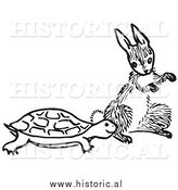 Historical Clipart of a Turtle and Hare Beside Each Other - Black and White Outline by Al