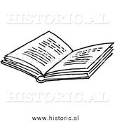 Historical Clipart of an Opened Book with Text - Black and White Outline by Al