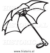 Historical Clipart of an Opened Umbrella Outline by Al