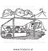 Historical Clipart of Farmers Market - Black and White by Al