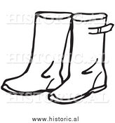 Historical Clipart of Rain Boots - Black and White Outline by Al