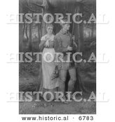 Historical Engraving of Two Pilgrims near the War Path - Black and White Version by Al
