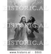 Historical Illustration Depicting Rays of Heavenly Light over Jesus Christ While Being Baptized - Black and White Version by Al