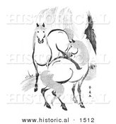Historical Illustration of 2 Horses by a Willow Tree, Black and White by Al