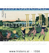 Historical Illustration of 2 People Fishing at a Weir in Senju, Musa, and One Person and Horse Transporting Rice Seedlings, Rice Paddies by Al