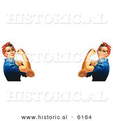 Historical Illustration of 2 Rosie the Riveters Facing Each Other While Flexing Their Muscles by Al