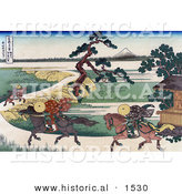 Historical Illustration of 3 People Riding Horses Along the Sumida River, with Mount Fuji in the Distance by Al