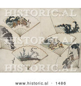 Historical Illustration of 6 Folding Hand Fans with Landscape Scenes by Al