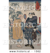 Historical Illustration of a Bald Man Looking at the Samurai Swordsman Miyamoto Musashi by Al