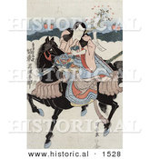 Historical Illustration of a Bando Mitsugoro, a Japanese Actor, Riding a Horse While Playing the Role of Satsumanokami Tadanori by Al