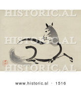 Historical Illustration of a Beautiful Horse Laying on the Ground Resting by Al