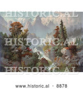 Historical Illustration of a Beautiful River Cascading Through Autumn Trees in the Rocky Mountains by Al