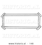 Historical Illustration of a Black and White Rectangle Sign with Taped Corners - Outlined Version by Al