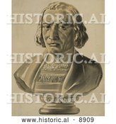 Historical Illustration of a Bust Statue of Christopher Columbus by Al