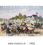 Historical Illustration of a Busy Street Scene of Horses and Carriages on a Road near a Building by Al