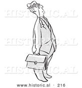 Historical Illustration of a Cartoon Businessman Looking Upwards While Holding a Briefcase - Outlined Version by Al