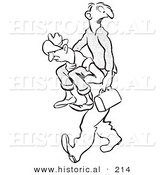 Historical Illustration of a Cartoon Man Carrying a Someone to Work on His Back - Outlined Version by Al
