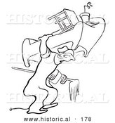 Historical Illustration of a Cartoon Man Moving Heavy Furniture by Himself - Outlined Version by Al