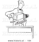 Historical Illustration of a Cartoon Photographer Taking Photographs with an Old Fashioned Camera - Outlined Version by Al