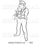 Historical Illustration of a Cartoon Police Officer Writing Someone a Ticket - Outlined Version by Al