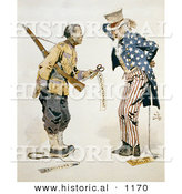 Historical Illustration of a Chinese Soldier Standing with Uncle Sam and Tags: Enlightenment, Servitude, Partisan Politics by Al