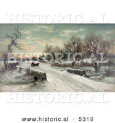 Historical Illustration of a Couple Riding a Horse Drawn Sleigh Christmas Morning by Al