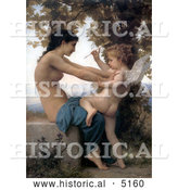 Historical Illustration of a Cupid with an Arrow, Being Fought off by a Young Nude Woman by William-Adolphe Bouguereau by Al