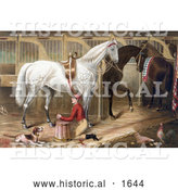 Historical Illustration of a Dog Watching a Jockey Kneeling and Praying for a Successful Race in a Horse Stable by Al