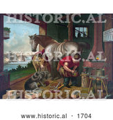 Historical Illustration of a Donkey and a Dog Watching a Farrier Applying Horseshoes to a Horse by Al