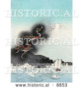 Historical Illustration of a Dragon Rising to the Top of Mt Fuji, Causing Strong Waves to Flow Towards Ships by Al
