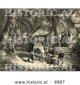 Historical Illustration of a Farm Family and a Horse by Al