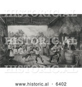 Historical Illustration of a Farmer and Daughter Watching Entertaining African Americans As They Dance and Play a Banjo in a Barn - Black and White by Al
