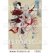 Historical Illustration of a Female Japanese Warrior, Han Gaku, Armed with a Bow and Arrows, on the Back of a Rearing Horse by Al